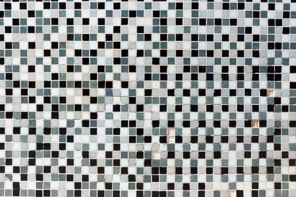 White, black and grey mosaic tiles